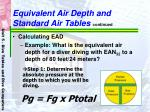 equivalent air depth and standard air tables continued55
