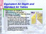 equivalent air depth and standard air tables