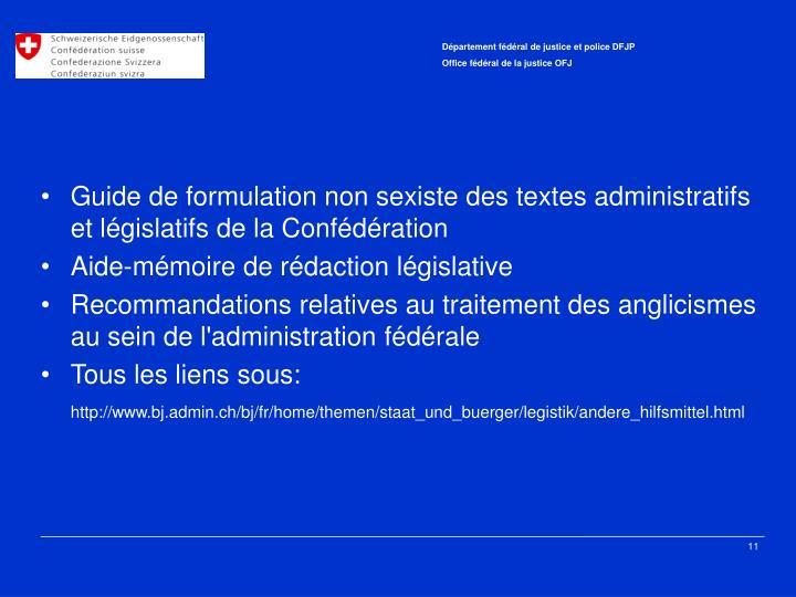 Guide de formulation non sexiste des textes administratifs et législatifs de la Confédération