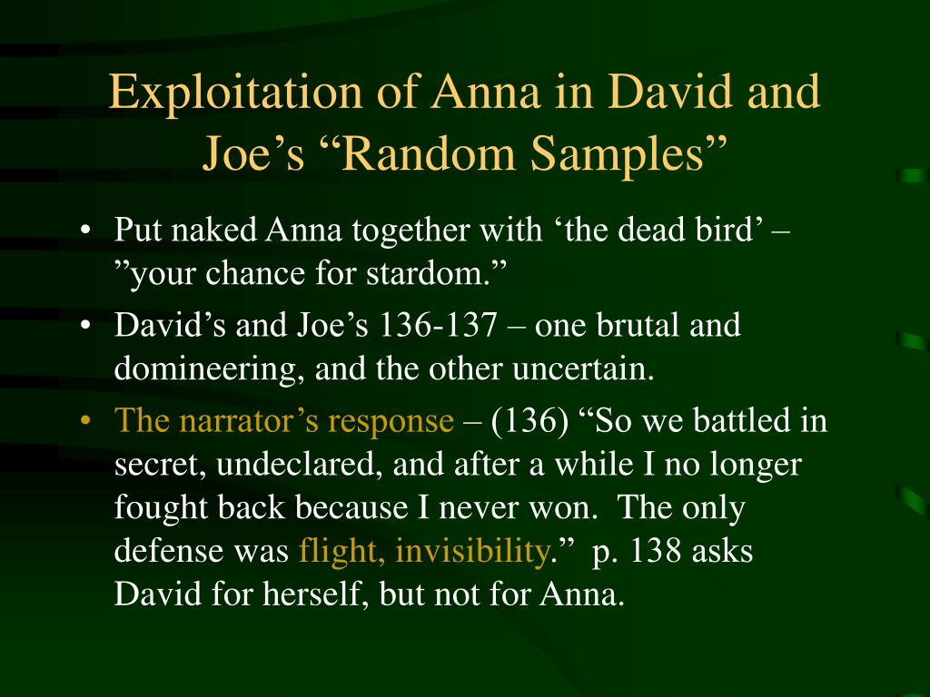"Exploitation of Anna in David and Joe's ""Random Samples"""