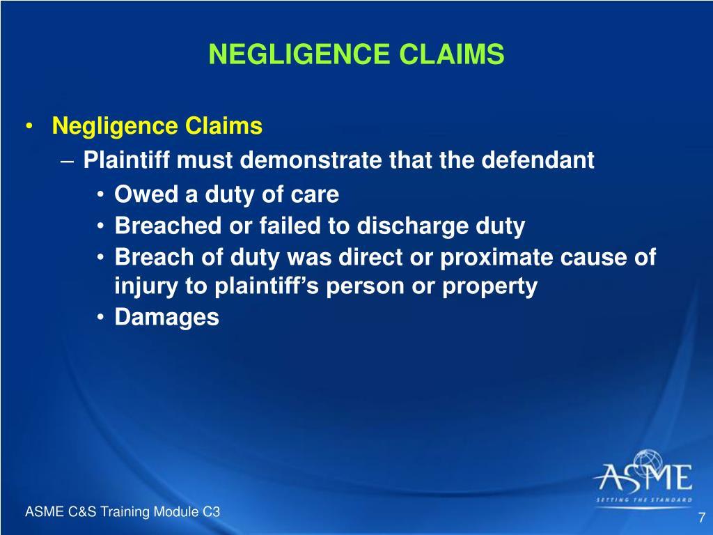 NEGLIGENCE CLAIMS