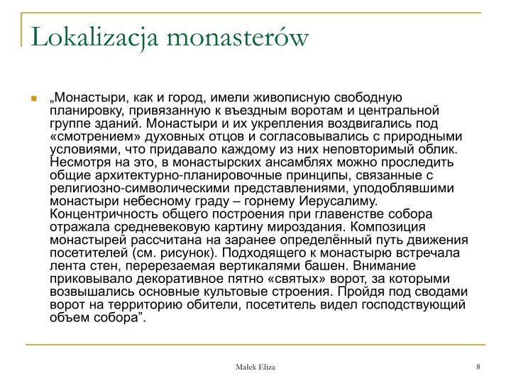 Lokalizacja monasterw