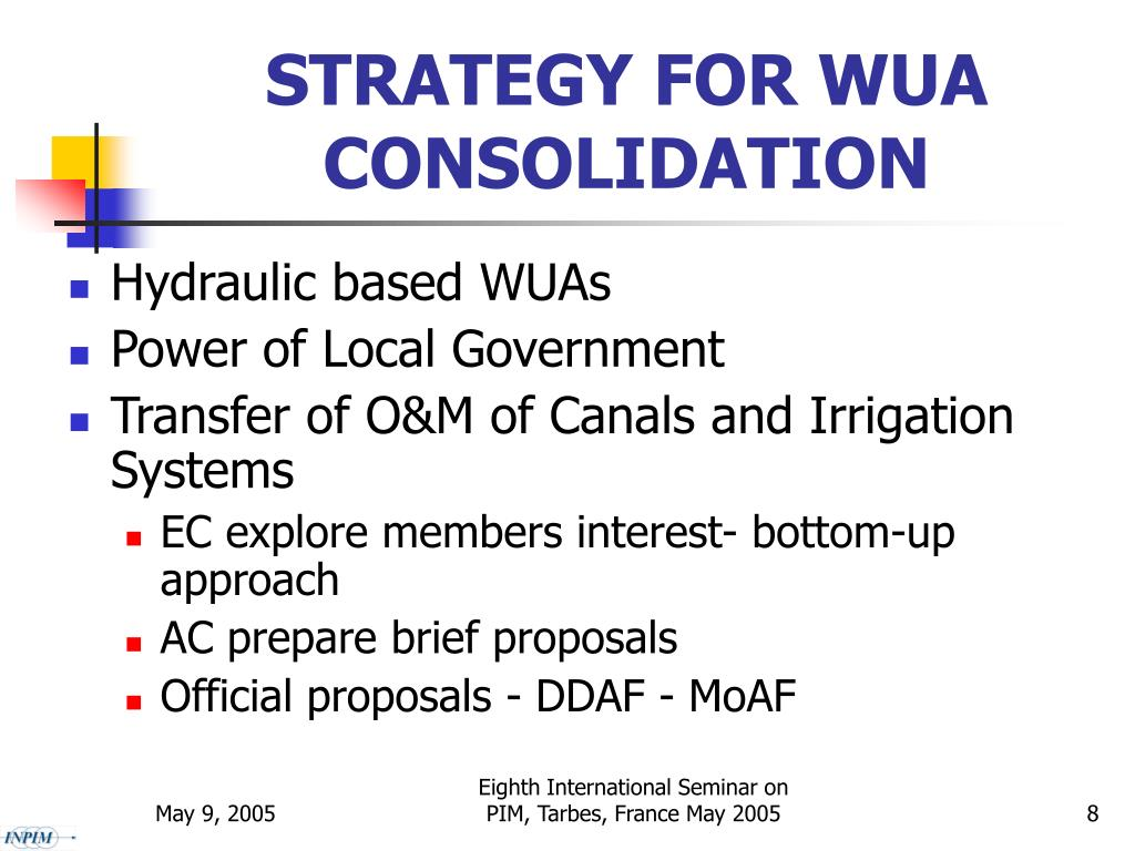 STRATEGY FOR WUA CONSOLIDATION