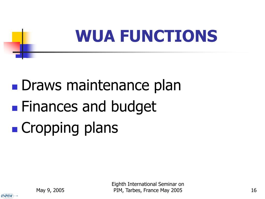 WUA FUNCTIONS