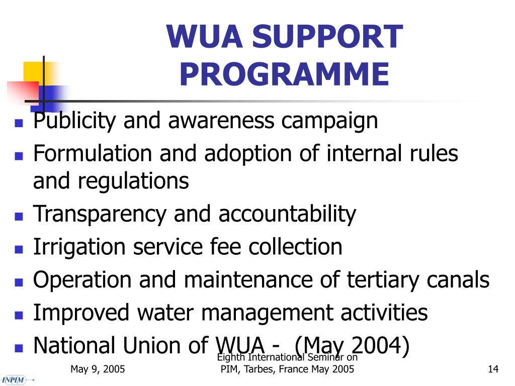 WUA SUPPORT PROGRAMME