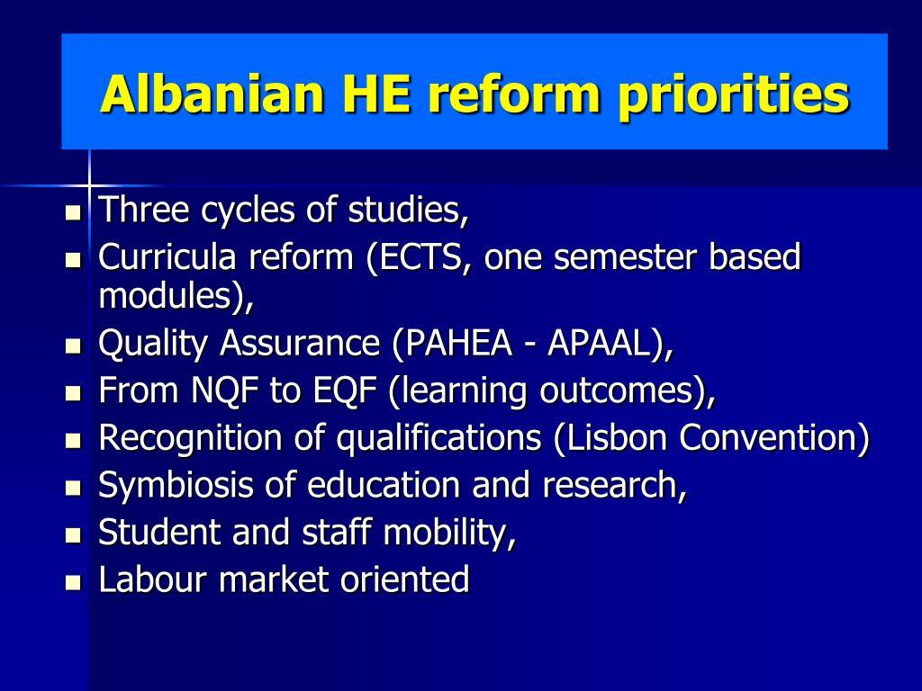 Albanian HE reform