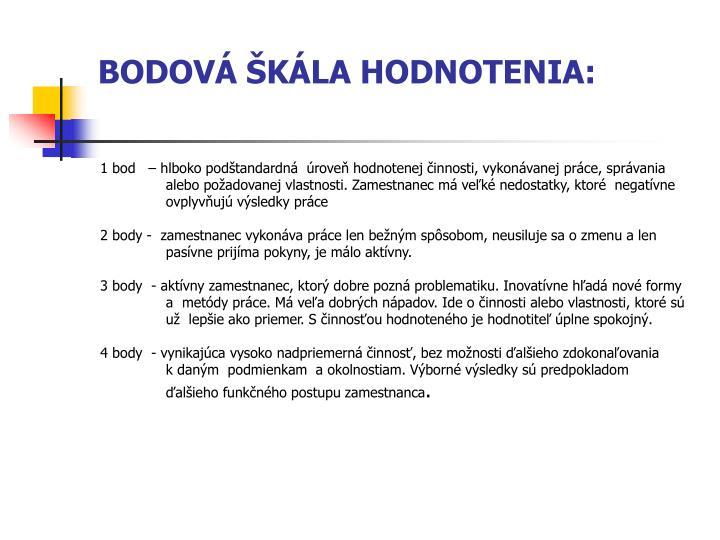 BODOVÁ ŠKÁLA HODNOTENIA: