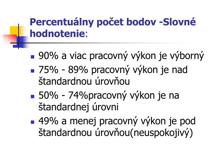 Percentuálny počet bodov -Slovné hodnotenie