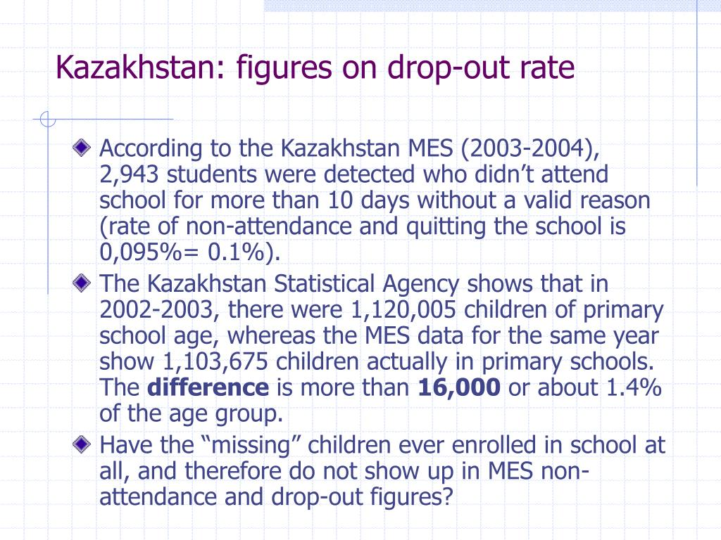 Kazakhstan: figures on drop-out rate