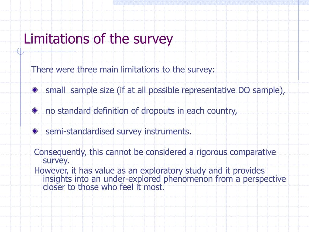 Limitations of the survey