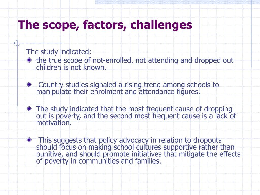 The scope, factors, challenges