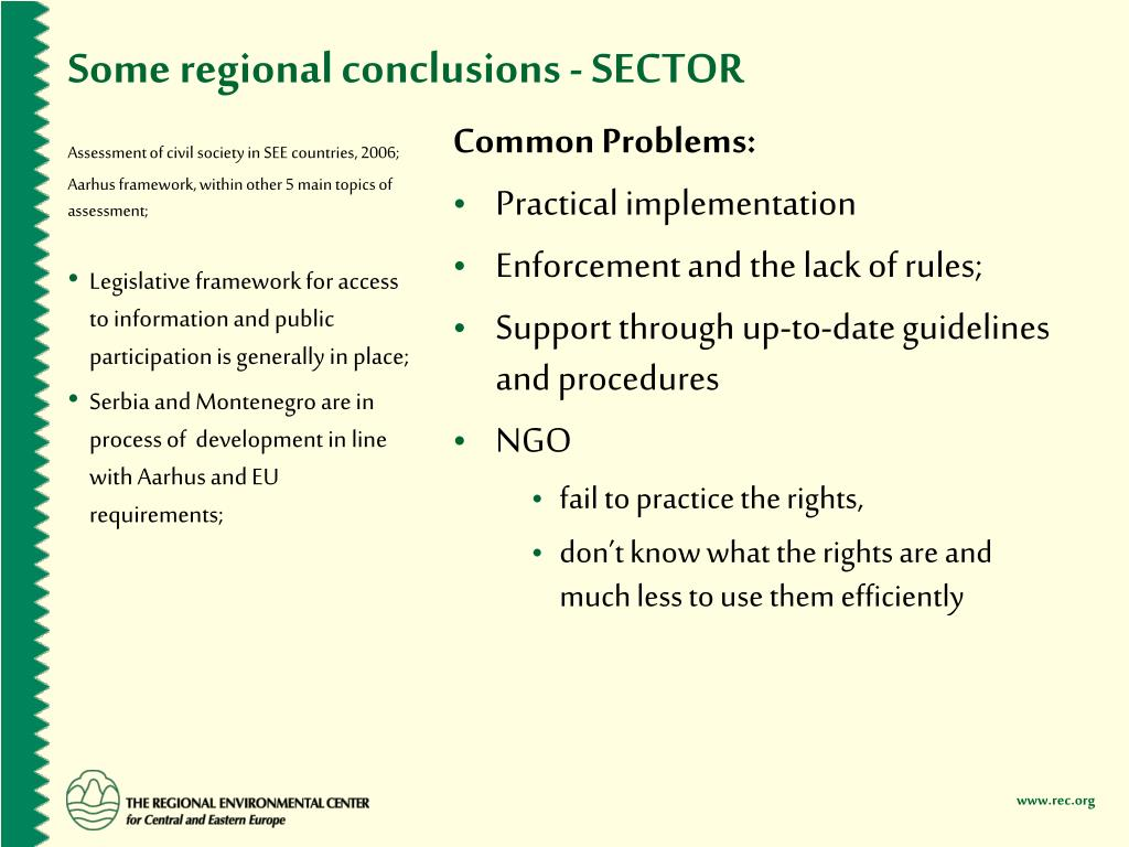 Some regional conclusions - SECTOR