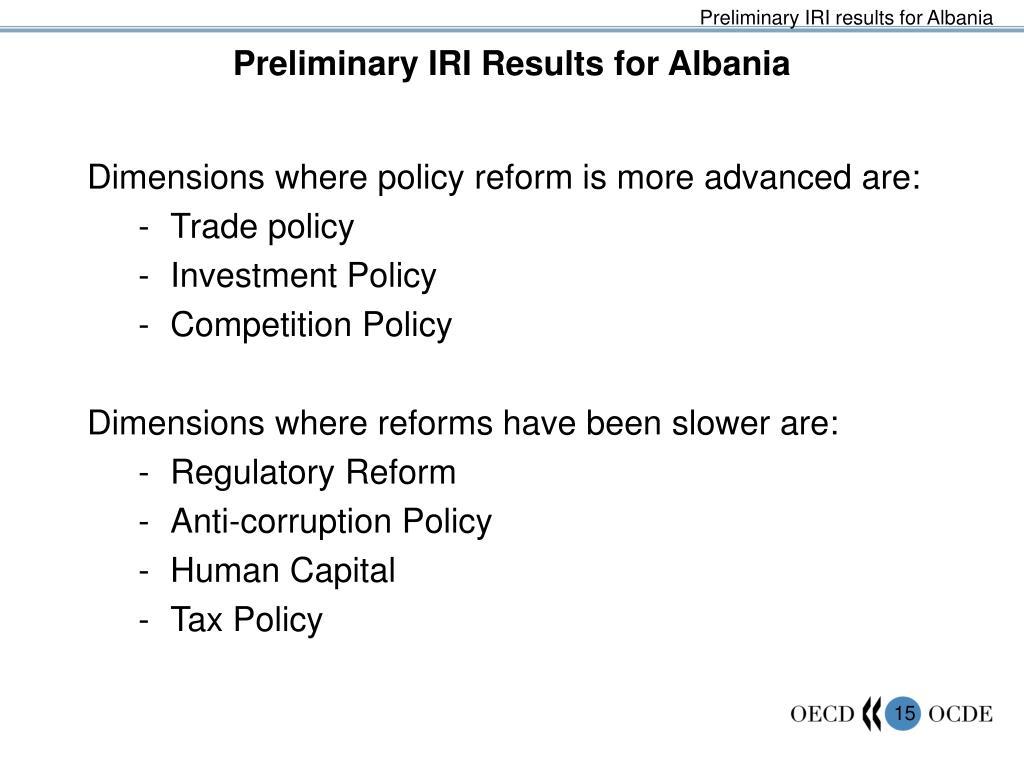 Preliminary IRI results for Albania