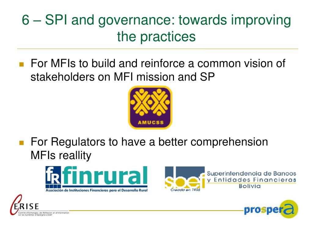 6 – SPI and governance: towards improving the practices