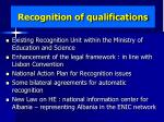 recognition of qualifications