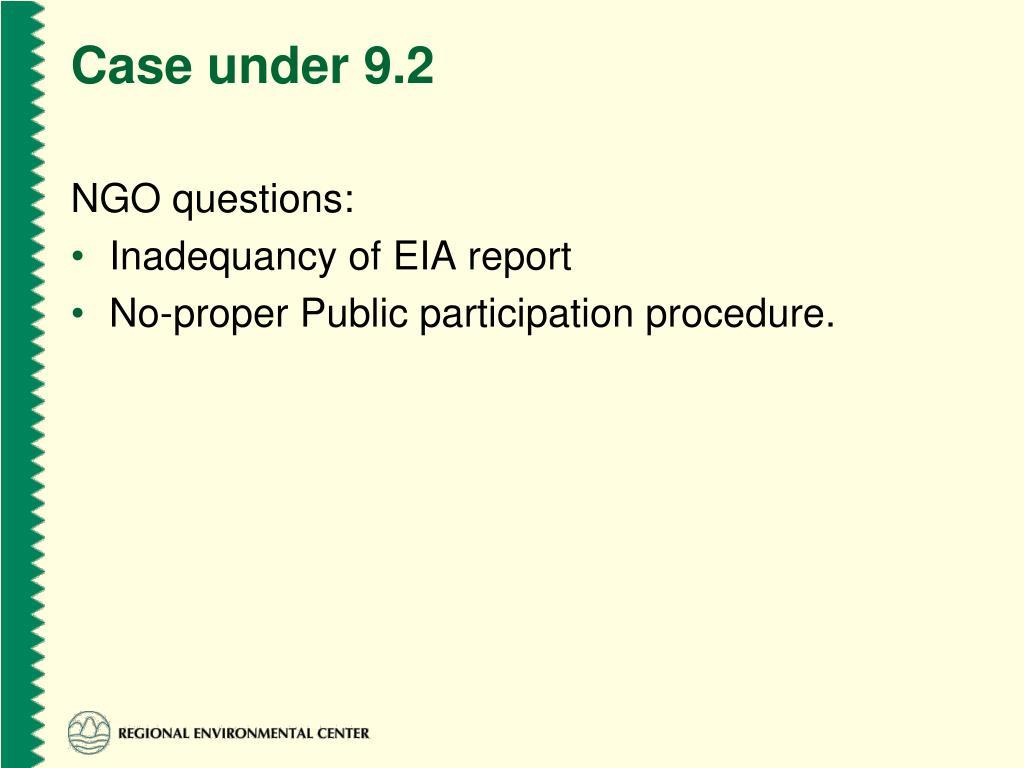 Case under 9.2