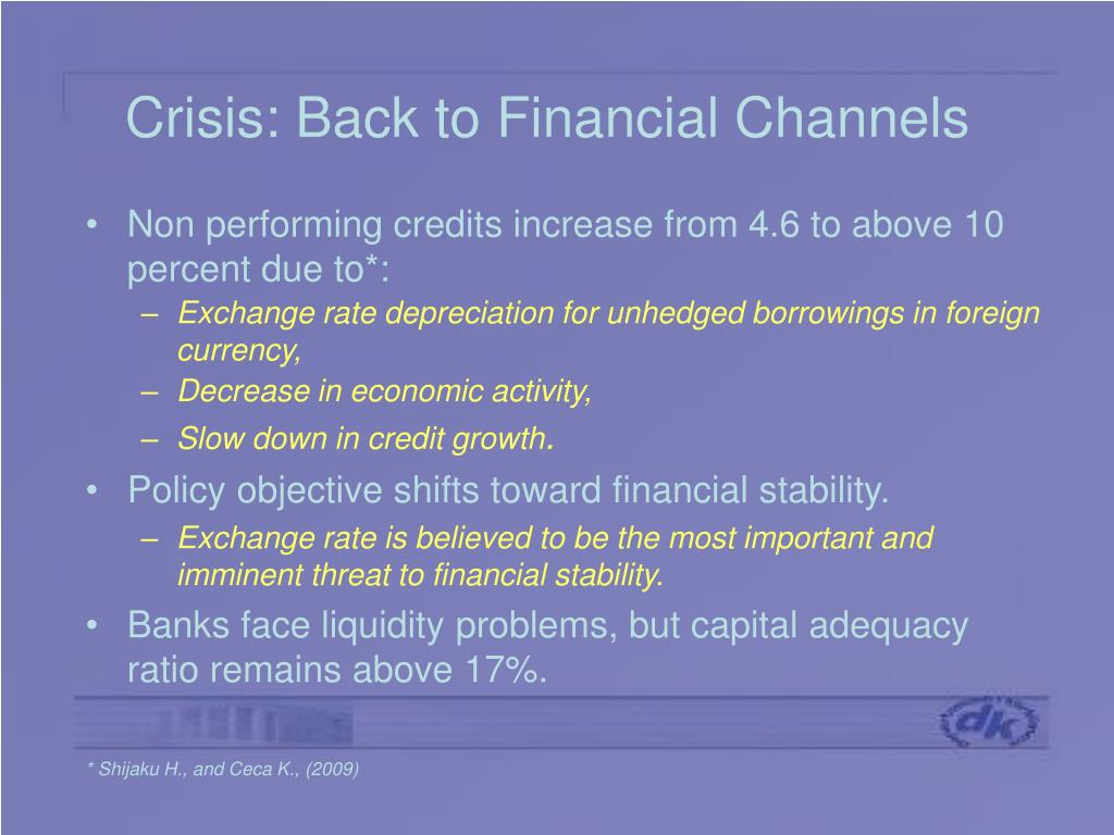 Crisis: Back to Financial Channels