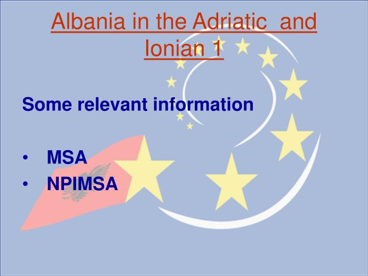 Albania in the adriatic and ionian 1