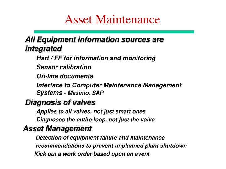Asset Maintenance