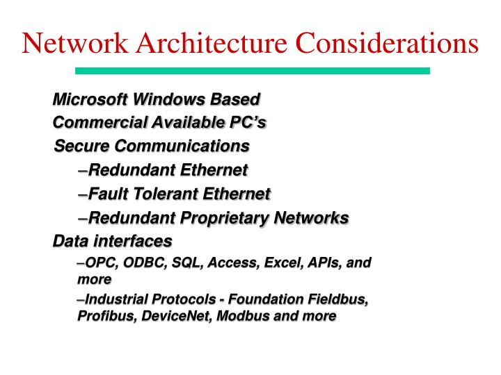 Network Architecture Considerations