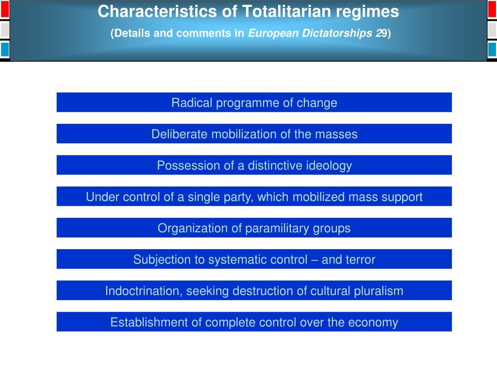 Characteristics of Totalitarian regimes