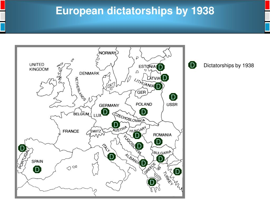 European dictatorships by 1938
