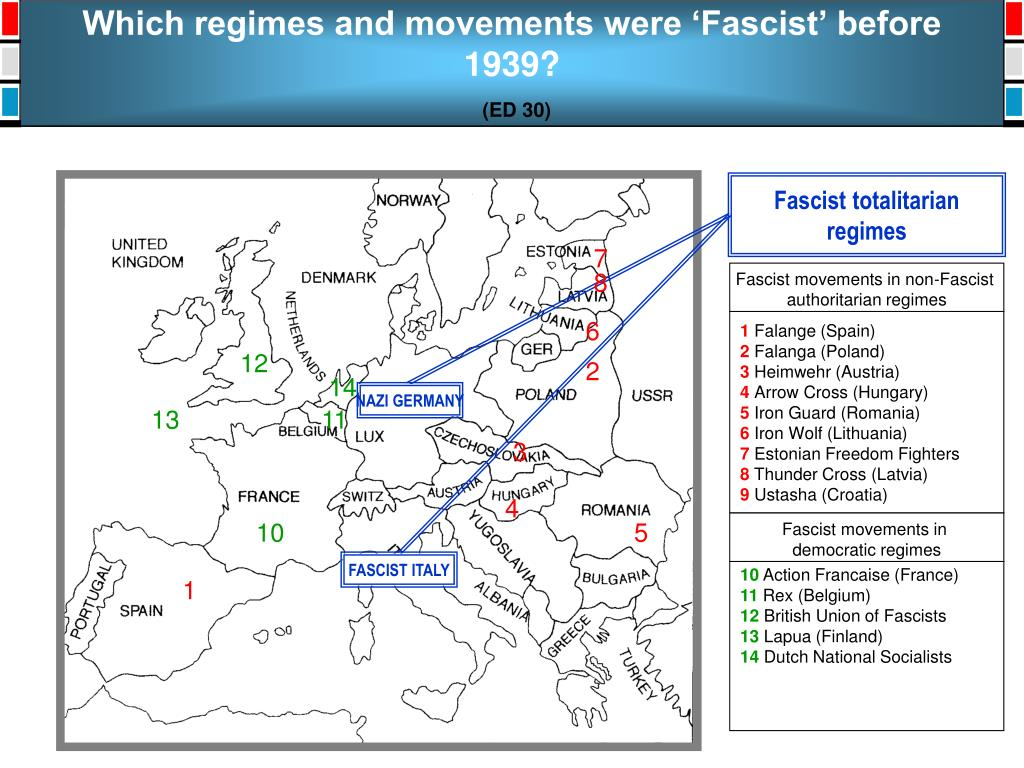 Which regimes and movements were 'Fascist' before 1939?