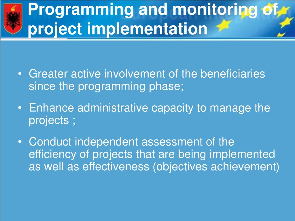 Programming and monitoring of project implementation