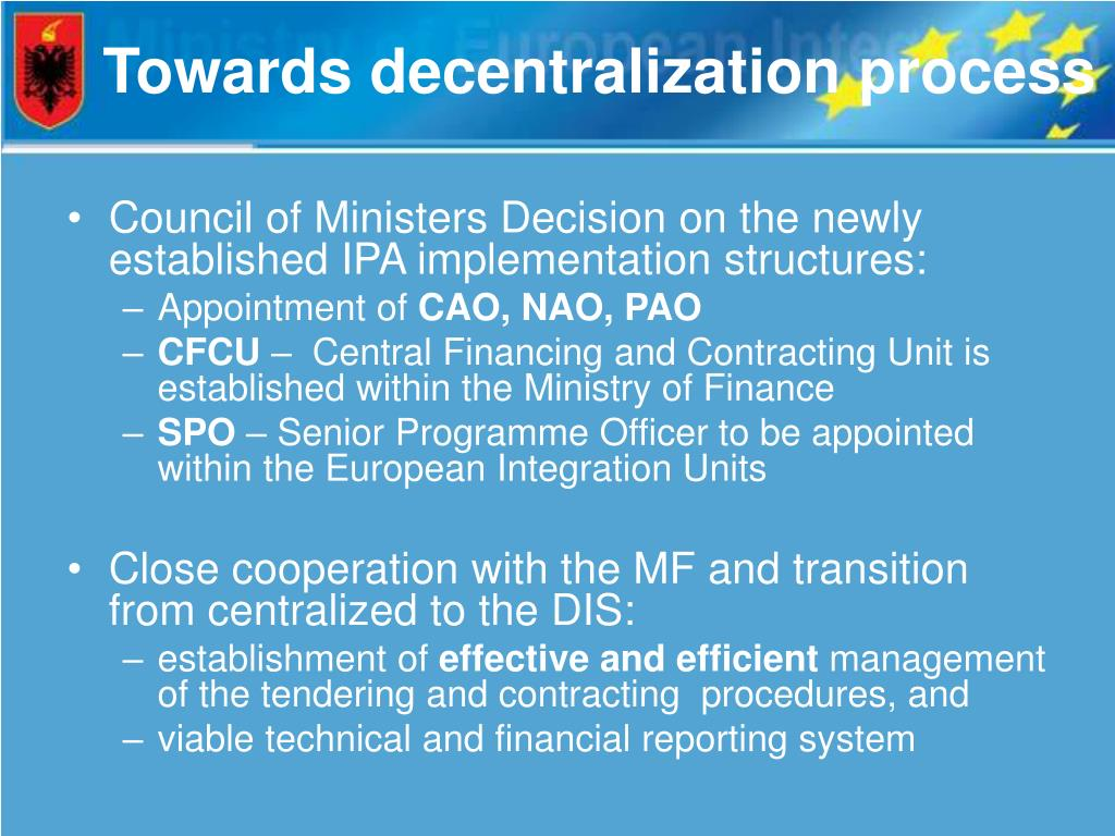 Towards decentralization process