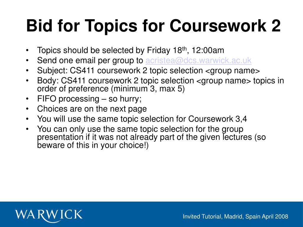 Bid for Topics for Coursework 2