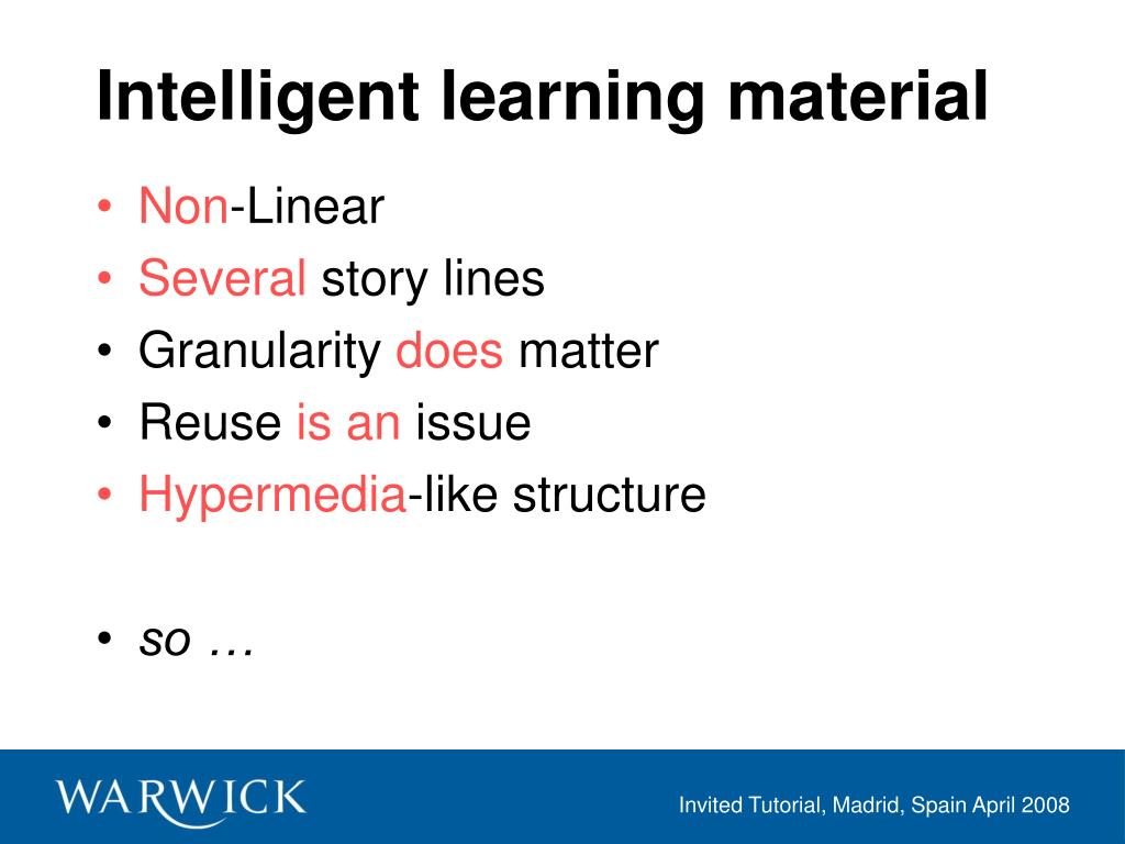Intelligent learning material