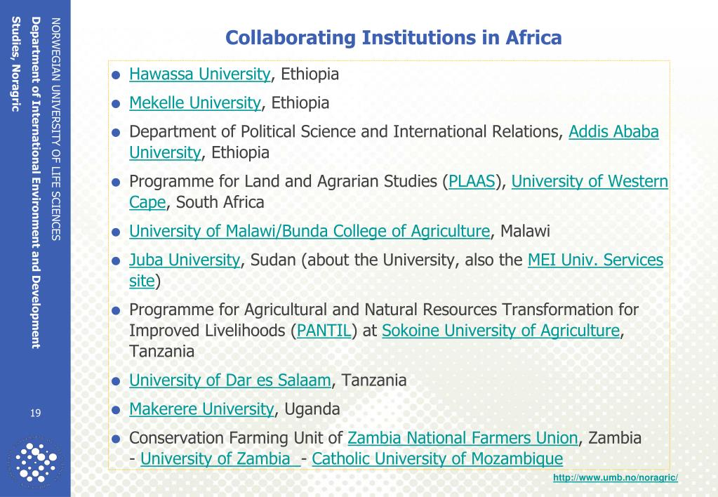 Collaborating Institutions in Africa