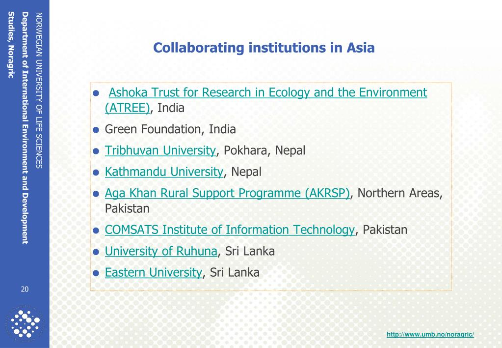 Collaborating institutions in Asia
