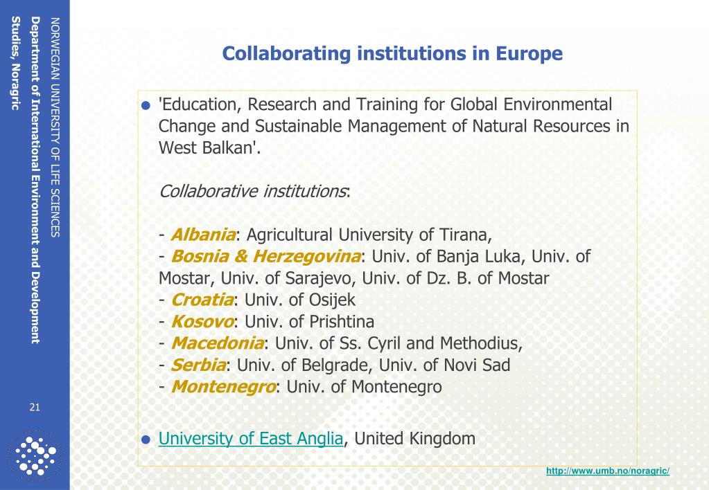 Collaborating institutions in Europe
