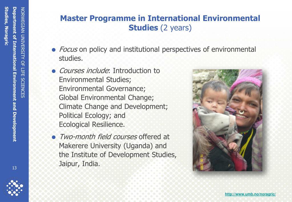 Master Programme in International Environmental Studies