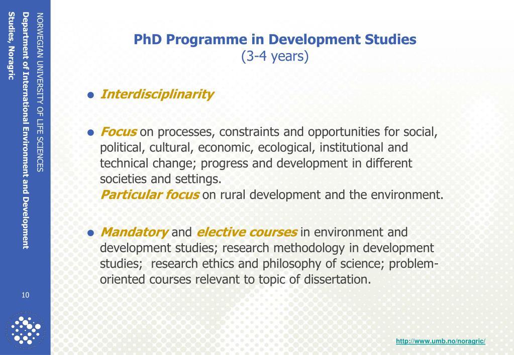 PhD Programme in Development Studies