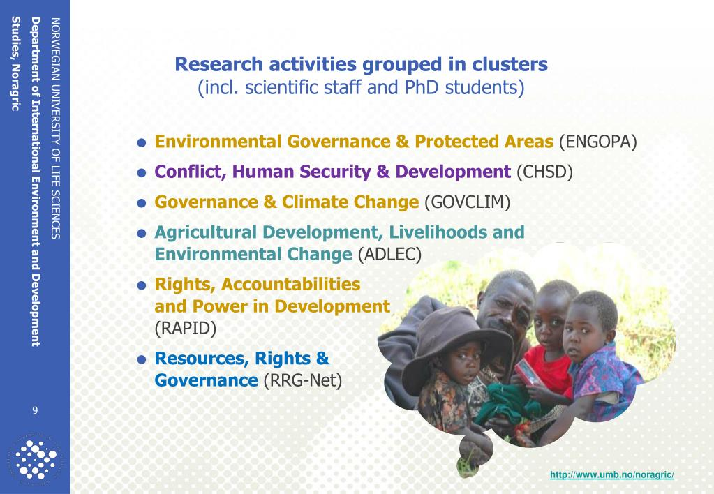 Research activities grouped in clusters