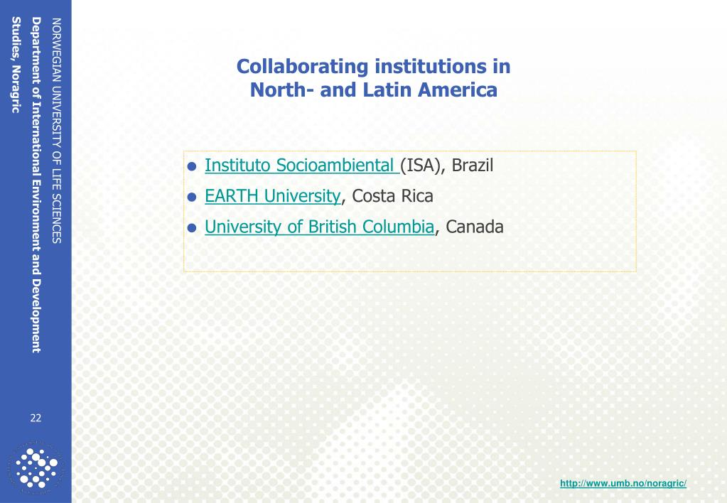 Collaborating institutions in
