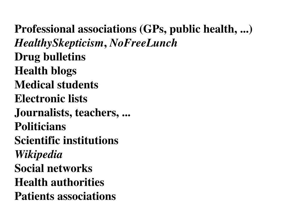 Professional associations (GPs, public health, ...)