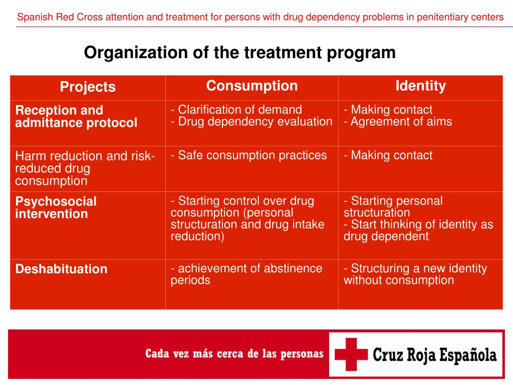 Spanish Red Cross attention and treatment for persons with drug dependency problems in penitentiary centers