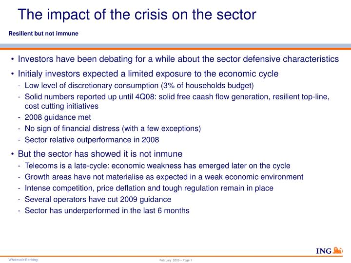 The impact of the crisis on the sector