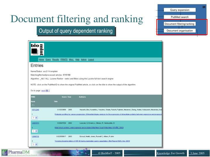 Document filtering and ranking