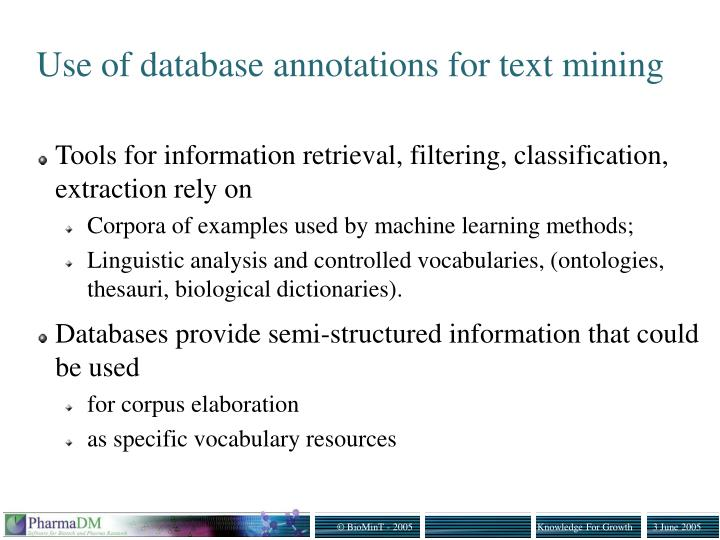 Use of database annotations for text mining