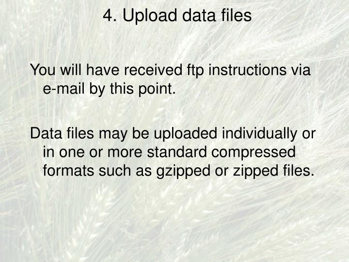 4. Upload data files
