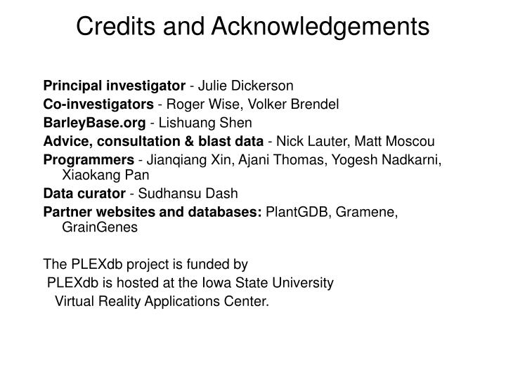 Credits and Acknowledgements