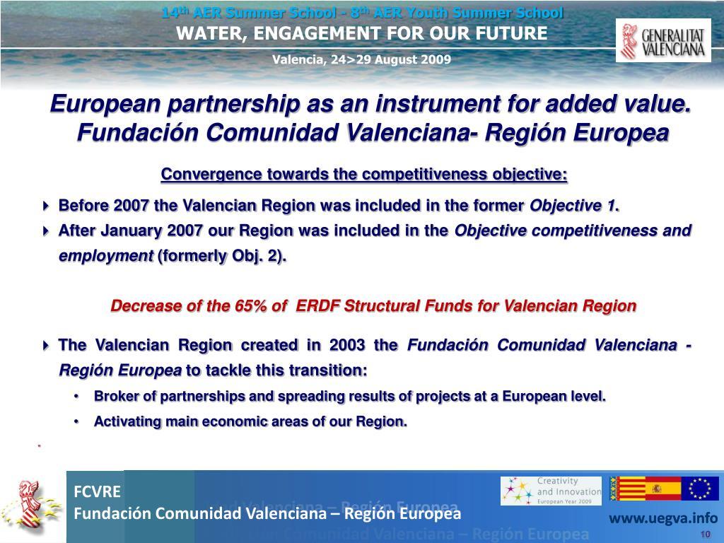 European partnership as an instrument for added value. Fundación Comunidad Valenciana- Región Europea