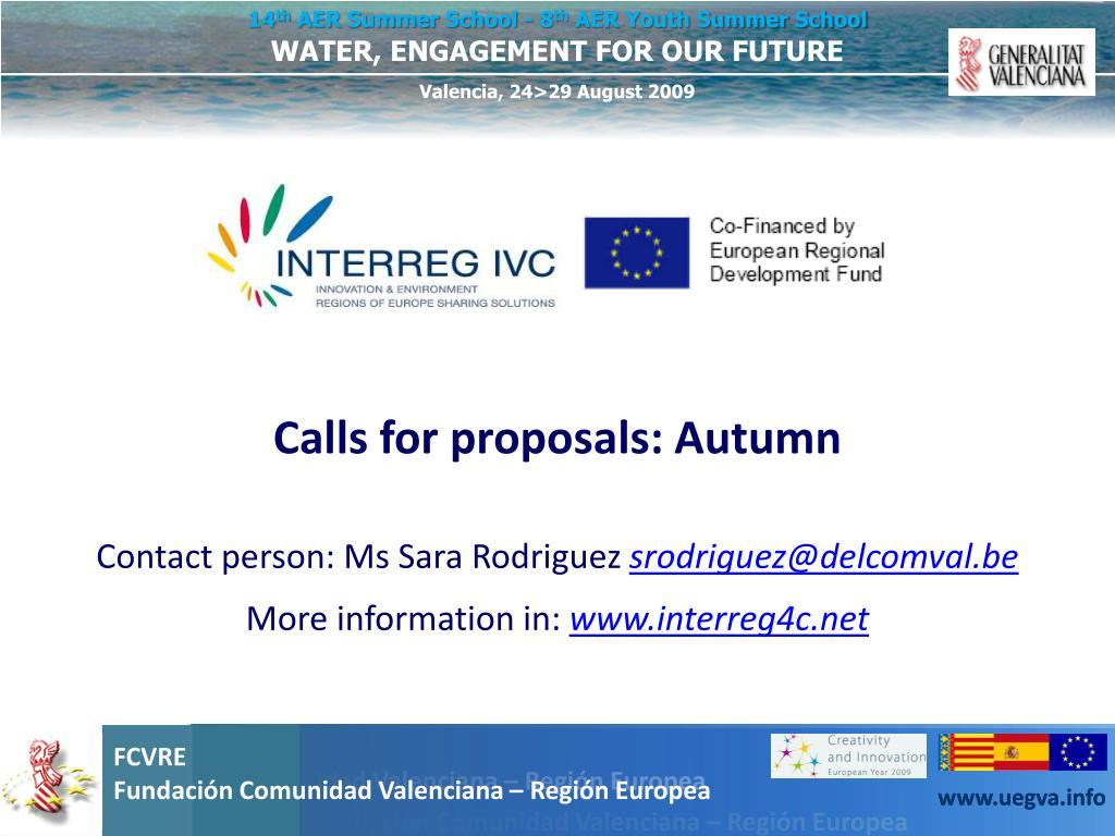 Calls for proposals: Autumn