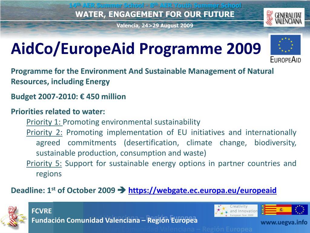 AidCo/EuropeAid Programme 2009