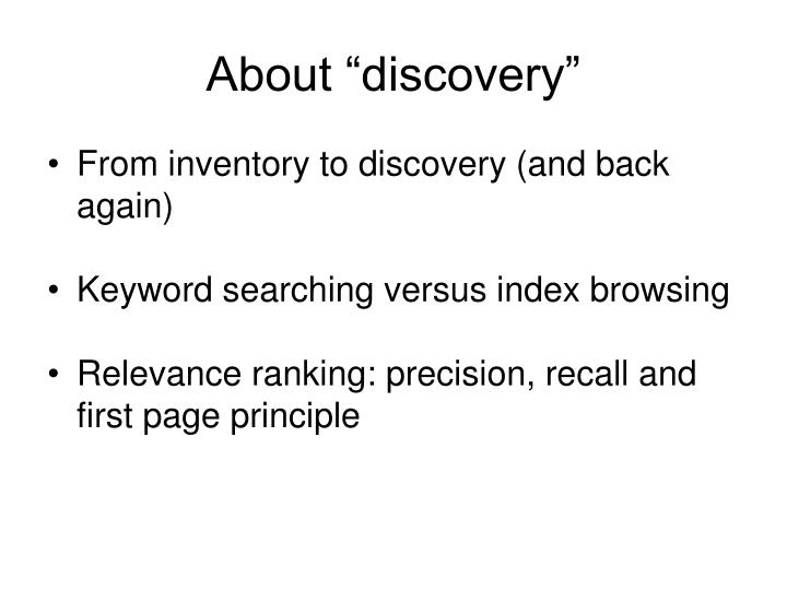 "About ""discovery"""