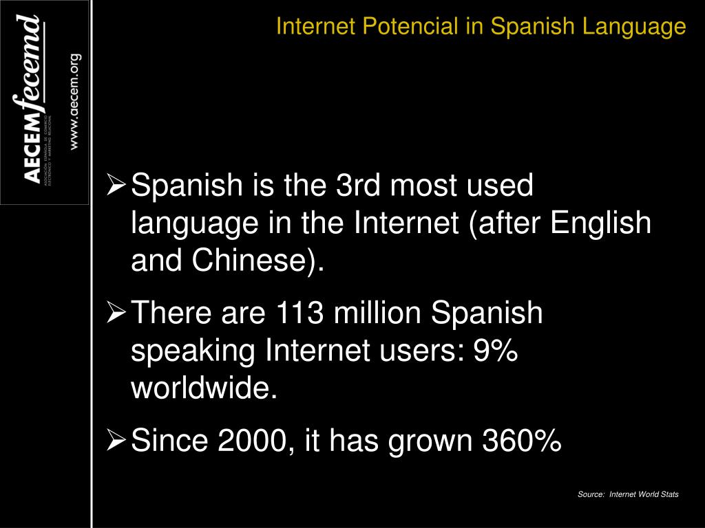 Internet Potencial in Spanish Language